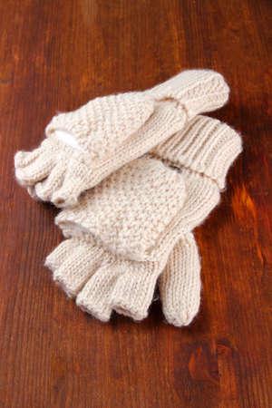 fingerless gloves: Wool fingerless gloves, on wooden