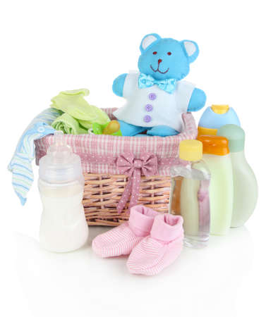 Baby accessories isolated on white photo