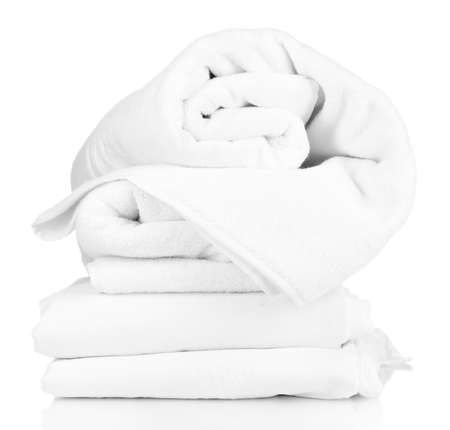 흰색에 고립 된 구기는 침대 시트의 스택 스톡 콘텐츠