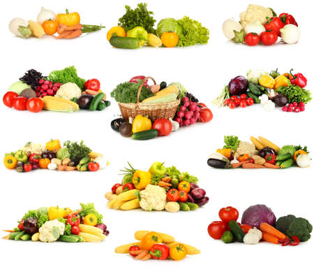 Collage of vegetables isolated on white photo