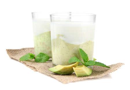 Fresh avocado smoothie isolated on white Stock Photo - 23405606