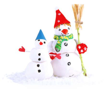 Beautiful snowmen  isolated on white photo