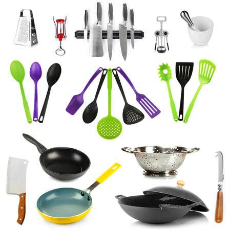 kitchen tools: Keukengereedschap collectie op een witte