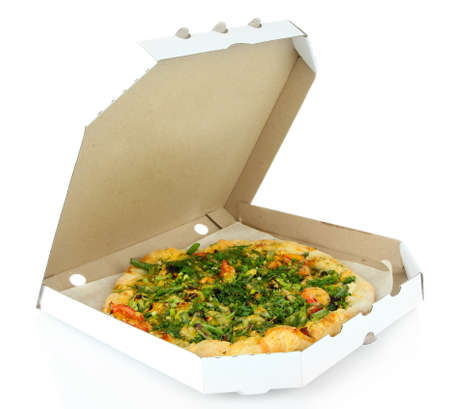 Tasty vegetarian pizza in box, isolated on white photo