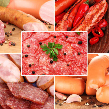 Sausages collage photo