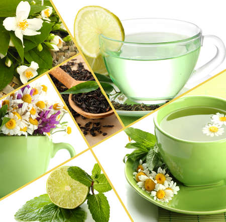 Collage of healthy green tea Stock Photo - 23443011