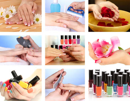 collage people: Collage of beautiful woman manicure