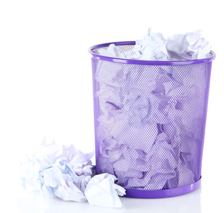 wastepaper: Recycle bin filled with crumpled papers, isolated on white