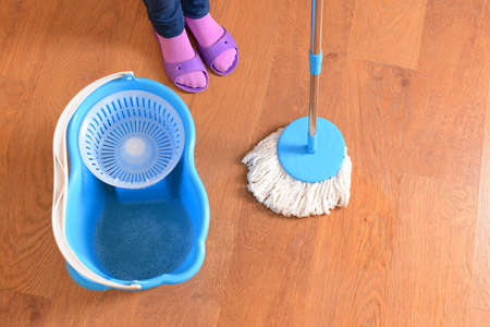 House cleaning with  mop Stock Photo - 23536764