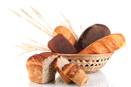 bread basket: Fresh bread in basket isolated on white