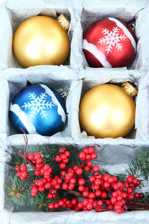 Beautiful packaged Christmas toys, close up photo
