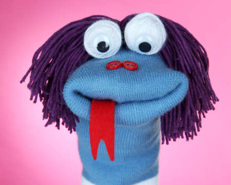 sock puppet: Cute sock puppet on pink background