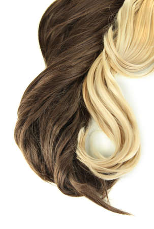 Curly blond and brown hair close-up isolated on white Stock Photo - 23710814