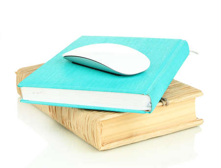 repository: Computer mouse on books isolated on white Stock Photo