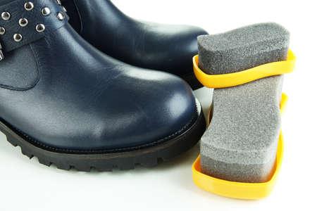 Shoe polishing close up Stock Photo