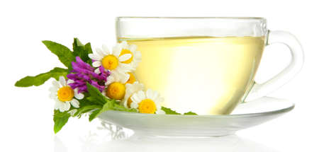 Cup of herbal tea with wild flowers and mint, isolated on white photo