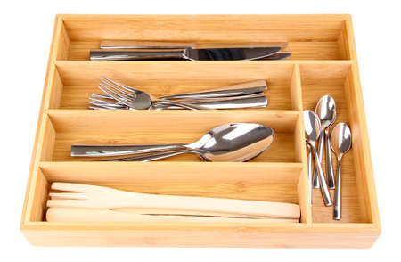 Wooden cutlery box with checked cutlery isolated on white Stock Photo - 23737851
