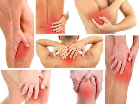 bol: Collage reprezentujących człowiek o ból w kilku części ciała
