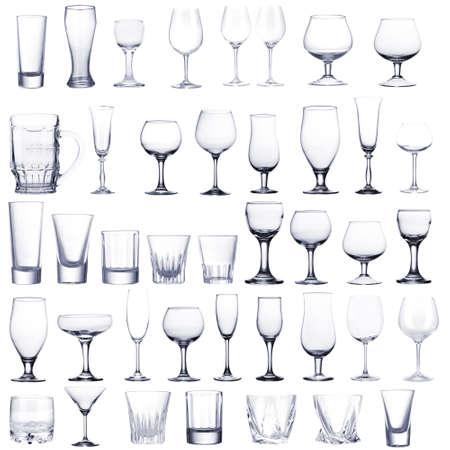 Collage van lege glazen op wit wordt geïsoleerd Stockfoto