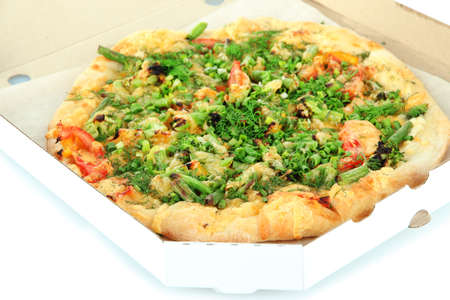 Tasty vegetarian pizza in box, close up photo
