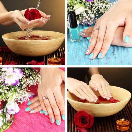 handcare: Collage of beautiful woman manicure