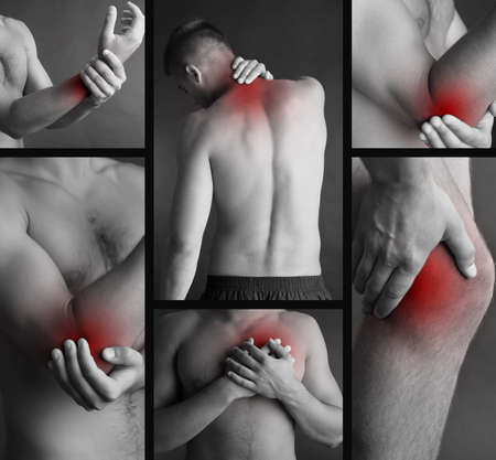 Collage representing man having pain at several part of body photo