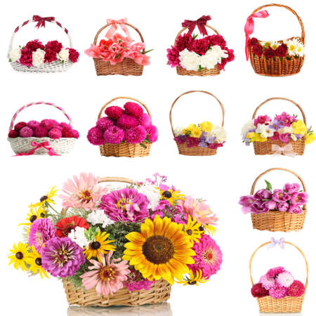 Collage of beautiful flowers in wicker baskets isolated on white photo