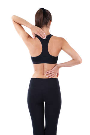 broken back: Back pain in young girls isolated on white Stock Photo