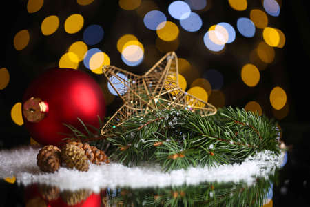 Beautiful Christmas composition on table on bright background photo