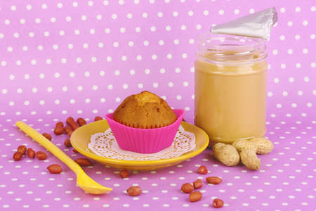 Delicious peanut butter with cake on purple background with polka dots Stock Photo - 23801267