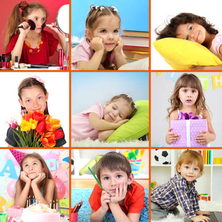 Collage of cute little children photo