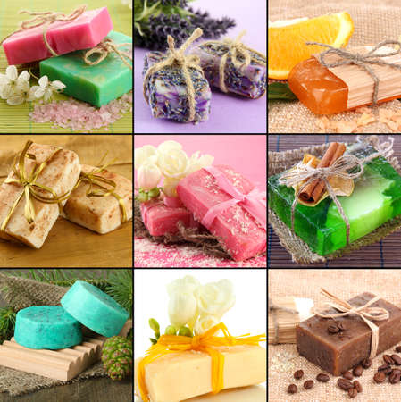 Natural soaps collage photo