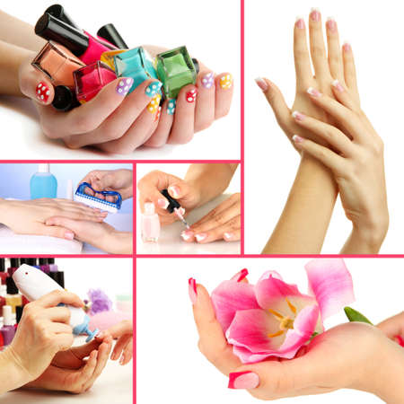 Collage of beautiful woman manicure photo