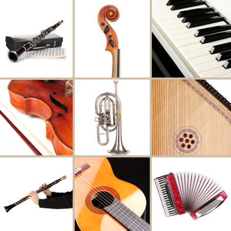 Collage of musical instruments photo