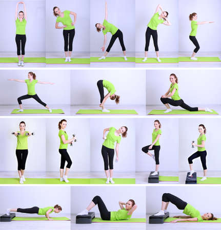 Collage of different fitness exercises photo