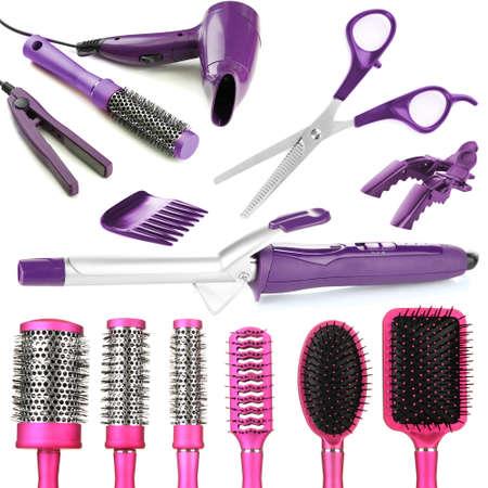barrettes: Collage di strumenti di parrucchiere isolato su bianco