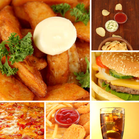 Tasty food collage photo