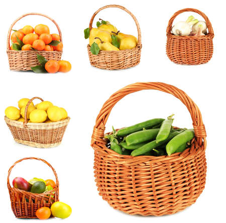 Collage of fruits and vegetables in wicker basket isolated on white photo