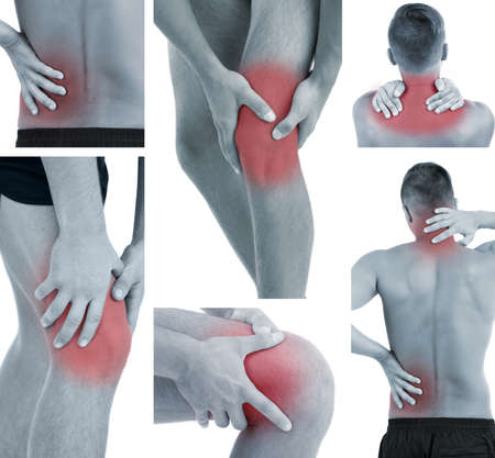 aching muscles: Collage representing man having pain at several part of body