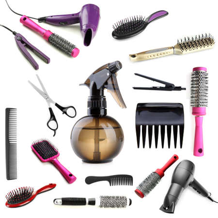 Collage of hairdressing tools isolated on white photo