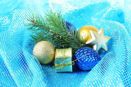 Beautiful Christmas decor on blue cloth photo
