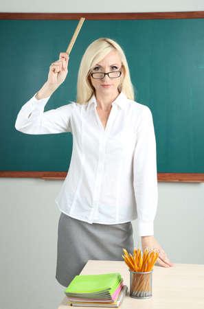 School teacher get angry in classroom  Stock Photo