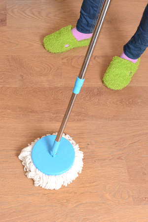 House cleaning with  mop Stock Photo - 23940552
