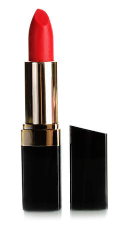 lipstick tube: Beautiful red lipstick isolated on white Stock Photo