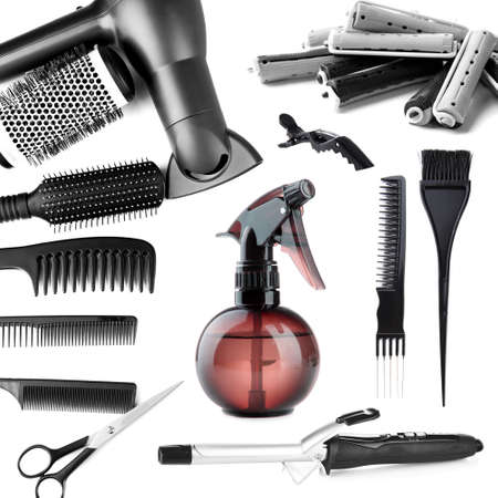 Collage of hairdressing tools isolated on white Stock Photo - 24012602