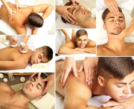 Collage of male massage and spa photo