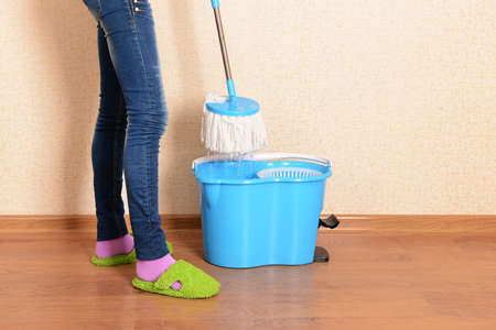 House cleaning with  mop Stock Photo - 24012785