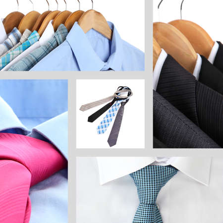 Collage of male shirts and ties Stock Photo