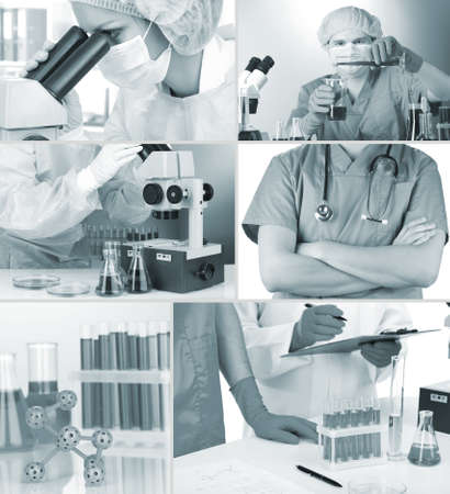 Collage of scientists and laboratory experiments photo
