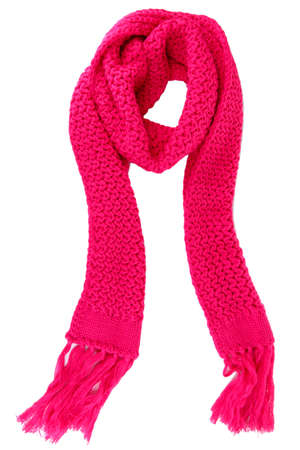 scarf: Warm knitted scarf pink isolated on white